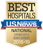 Best Hospitals - US News & World Report Cardiology and Heart Surgery 2017-2018 - Cardiology and Heart Surgery Specialty badge