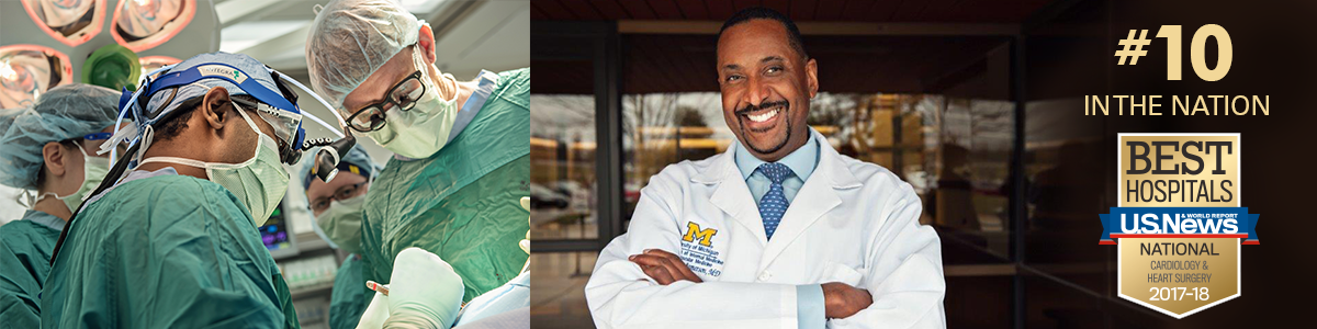 Surgeons and Dr. Kenneth Jamerson with #10 in Nation and U.S. News and World Report Best Hospitals for Cardiology and Heart Surgery badge