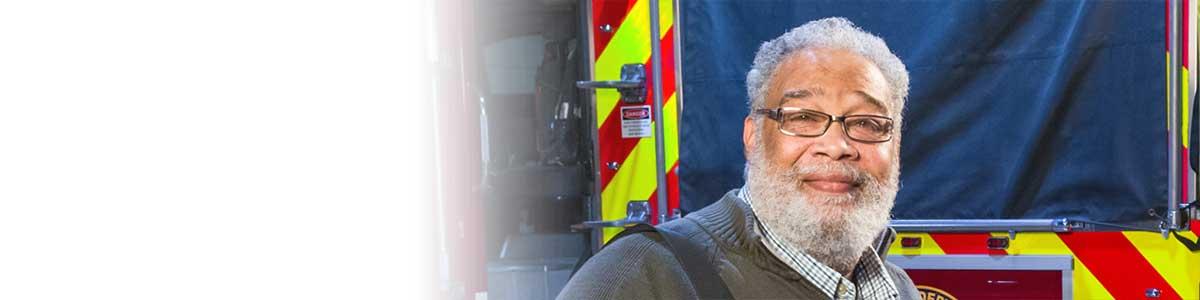 Furman Dillard, LVAD patient, in fire station