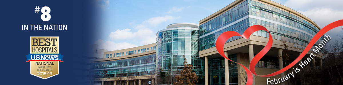 U-M Frankel Cardiovascular Center with red ribbon and February is Heart Month text plus U.S, News #8 ranking badge