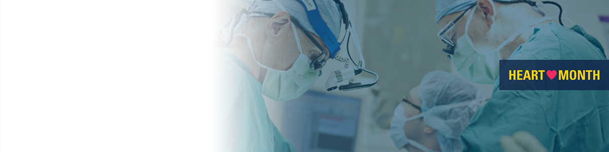 Faded image of surgeons with maize and blue heart month logo