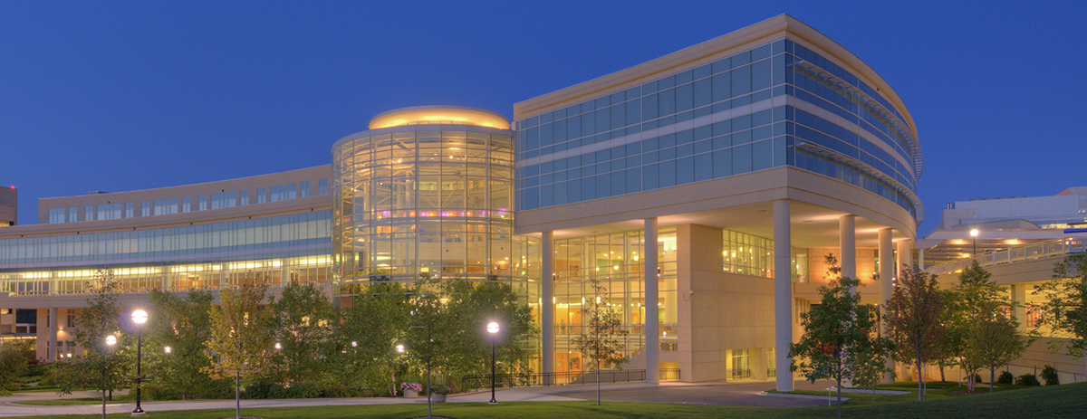 University of Michigan Frankel Cardiovascular Center at night