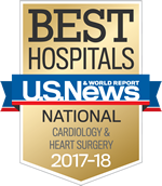 Best Hospitals - US New & World Report Cardiology and Heart Surgery 2017-2018 - Cardiology and Heart Surgery Specialty badge
