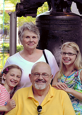 Judy and David Pierce, the longest living Heartmate II LVAD recipient, and granddaughters