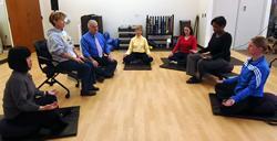 Meditation class on floor
