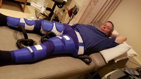 U-M patient receiving EECP treatment