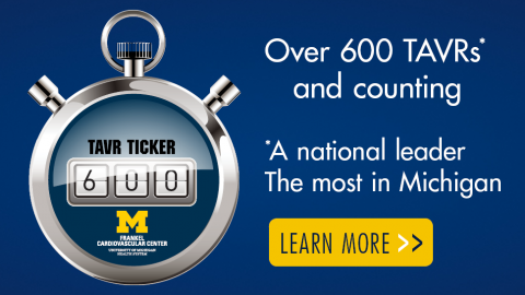TAVR stopwatch counter showing the number 600 - Over 600 TAVRs - a national leader and the most in Michigan