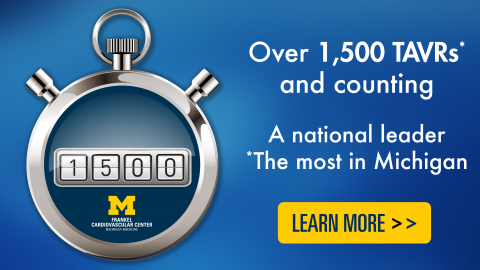 Stopwatch with numberal 1500 and text: Over 1,500 TAVRs and counting: A national leader, the most in Michigan