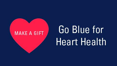 Make a Gift text within red heart and Go Blue for Heart Health text on blue background
