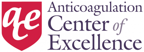 Red shield with lowercase a, c, and e and text Anticoagulation Center of Excellence