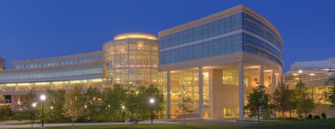 University of Michigan Frankel Cardiovascular Center at night
