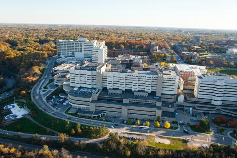 Aerial photo of the U-M Health System medical campus