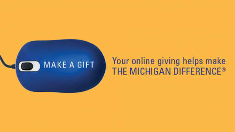 Computer mouse with text: Make a gift. Your online giving helps make the Michigan Difference