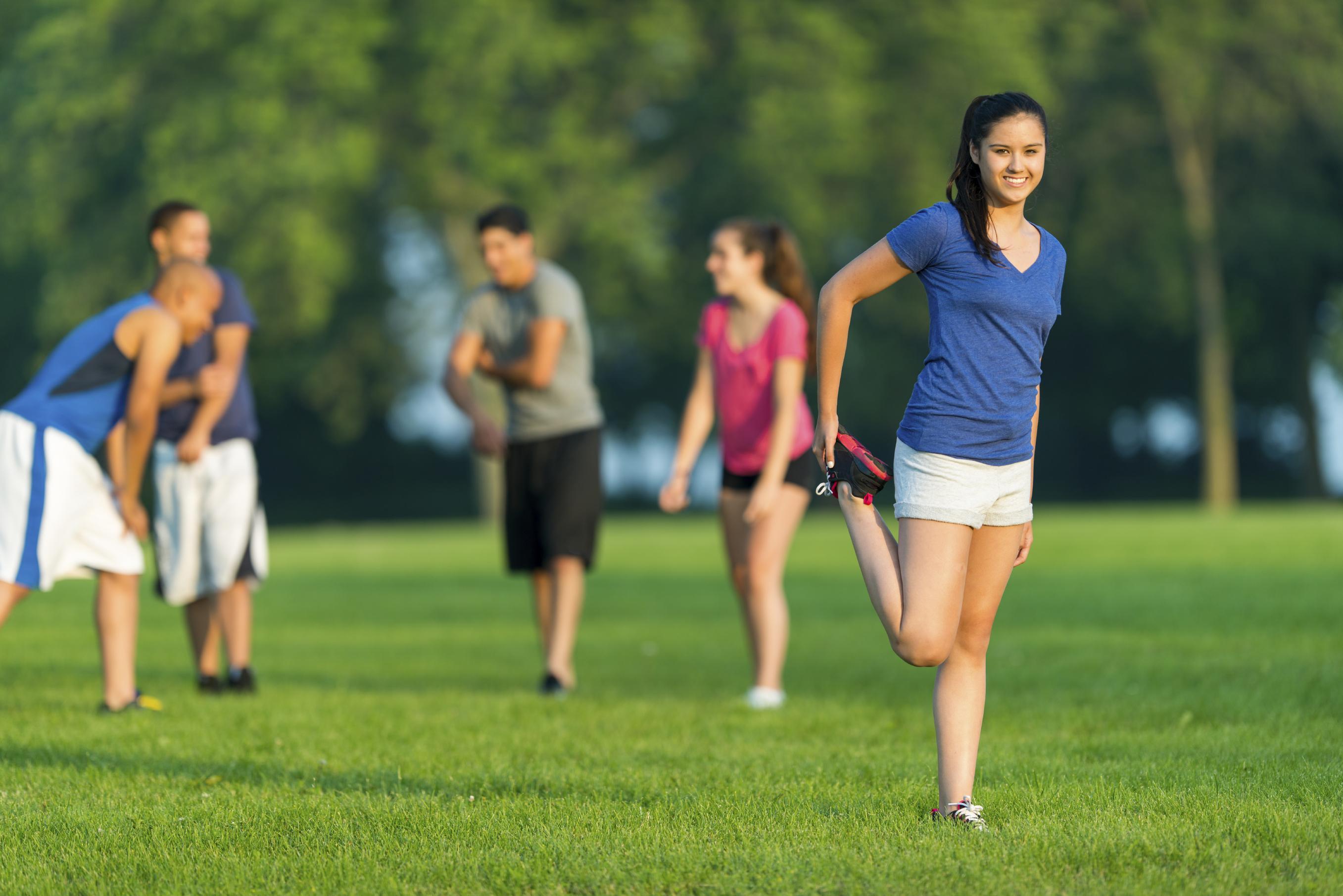 Teens exercising