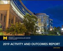 "Cover of Frankel Cardiovascular Center Outcomes Report showing photo of Center lit up at night with text ""2019 Activity and Outcomes Report - 2018 Data"""